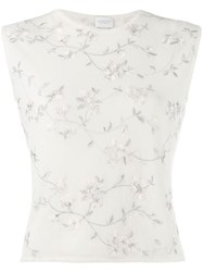 Giambattista Valli Floral Embroidered Knitted Top White