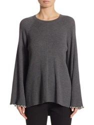 Elizabeth And James Georgine Ruffle Hem Sweater Heather Grey