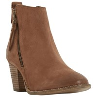 Dune Pontoon Stacked Heel Ankle Boots Tan
