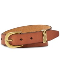 Fossil Embossed Keeper Leather Belt Tan