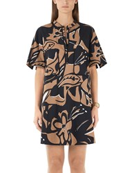 Marc Cain Printed Dress Black Brown