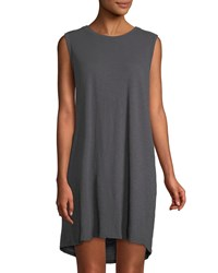 Allen Allen Sleeveless Cotton Mini Dress Grey