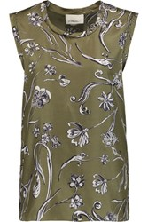 3.1 Phillip Lim Floral Print Silk Twill Top Army Green