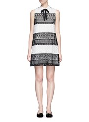Alice Olivia 'Hilly' Bow Collar Geometric Eyelet Lace Dress Multi Colour