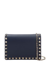 Valentino Garavani Rockstud Embellished Leather Pouch Pure Blue