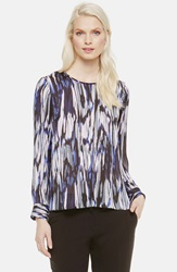 Vince Camuto 'Midnight Ikat' Print Blouse Regular And Petite Black Orchid