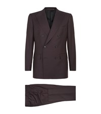 Gieves And Hawkes Double Breasted Wool Suit Purple
