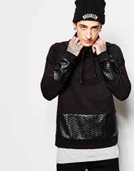 Asos Sweatshirt With Extreme Funnel And Faux Leather Panels Black