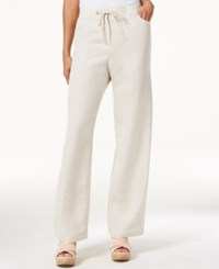 Jm Collection Petite Linen Blend Drawstring Pants Only At Macy's Flax