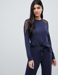Ted Baker B By Signature Jersey And Lace Long Sleeve Top Black