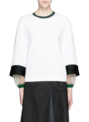 Toga Archives Stepped Sleeve Cotton Knit Top White