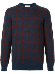 Gieves And Hawkes Long Sleeved Checked Jumper Polyamide Mohair Wool Blue