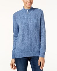 Karen Scott Petite Cable Knit Marled Sweater Only At Macy's Lux Blu Marl
