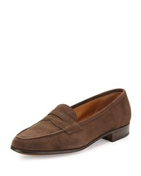 Gravati Suede Penny Keeper Loafer Medium Brown