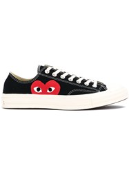 Comme Des Garcons Play Canvas Heart Print Sneakers Black