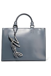Karl Lagerfeld K Metal Leather Tote Gray Green