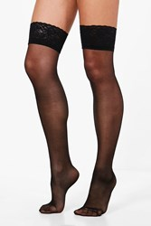 Boohoo Lace Top Stockings Black