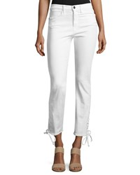 Frame Le High Straight Lace Up Jeans Blanc White