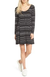 Lush Women's Scoop Neck Swing Dress Black Ivory Stripe