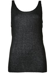 Baja East Sheer Tank Top Women Viscose Cashmere 0 Black