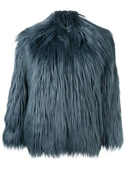Zadig And Voltaire Faux Fur Jacket Blue