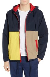 Rvca Bloc Colorblock Hooded Cotton Blend Jacket New Navy