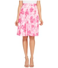 Ellen Tracy Pleated Skirt Floral Pink Tulip Women's Skirt