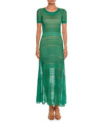 Missoni Short Sleeve Crewneck Open Knit Gown Green