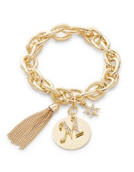 Rj Graziano M Initial Chain Link Charm Bracelet Gold
