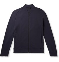 Hanro Loopback Stretch Cotton Jersey Bomber Jacket Blue