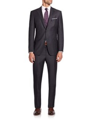 Saks Fifth Avenue Samuelsohn Pinstriped Wool Suit Charcoal