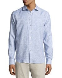 Neiman Marcus Linen Button Front Shirt Navy
