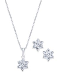 Giani Bernini Crystal Floral Pendant Necklace And Earrings Set In Sterling Silver