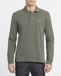 Lacoste Mottled Khaki Ls Polo Shirt