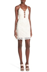 Missguided Strappy Crochet Sheath Dress Beige