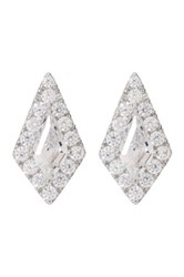 Nordstrom Rack Sterling Silver Diamond Shape Cz Stud Earrings Metallic