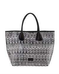 Neiman Marcus Squiggle Stripe Clear Tote Bag Black