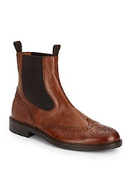 Massimo Matteo Double Gore Perforated Leather Boots Tan