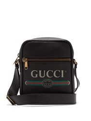 Gucci Logo Print Grained Leather Camera Bag Black