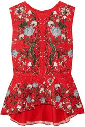 Erdem Queenie Floral Print Cloque Peplum Top Red
