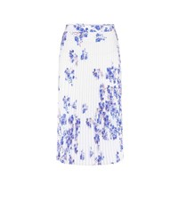 Vetements Floral Pleated Crepe Skirt White