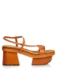 Stella Mccartney Altea Faux Leather Block Heel Platform Sandals Tan
