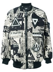 Ktz Newspaper Print Padded Bomber Jacket Black