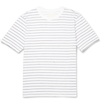 Band Of Outsiders Hand Drawn Stripe Cotton T Shirt White