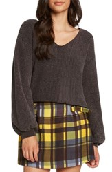 Willow And Clay Tie Back Chenille Sweater Charcoal