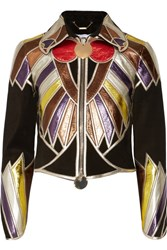 Givenchy Cropped Patchwork Metallic Leather Jacket Black