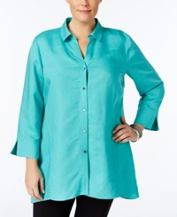 Jm Collection Plus Size Linen Tunic Shirt Only At Macy's Mermaid Green