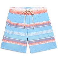 4e8df8a397b51 Faherty Beacon Mid Length Printed Swim Shorts Blue