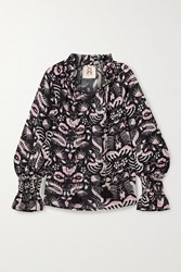 Figue Lianna Tasseled Printed Cotton Blend Voile Top Black