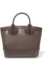 Christian Louboutin Eloise Large Spiked Textured Leather Tote Chocolate
